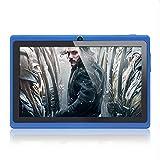 Haehne 7 Pouces Tablette Tactile, Google Android 4.4 Quad Core Tablet PC, 512Mo RAM 8Go ROM, Double Caméras, WiFi, Bluetooth, pour Enfants & Adultes, Bleu