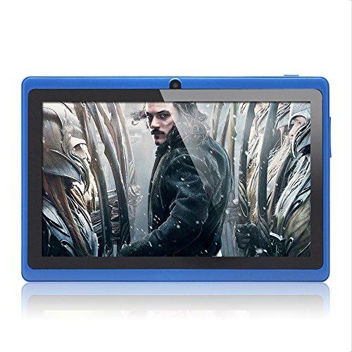 Haehne 7 Zoll Tablet PC, Google Android 4.4, Quad Core A33, 512MB RAM 8GB ROM, Dual Kameras, WiFi, Bluetooth, Kapazitiven Touchscreen, Blau Touch-screen Bluetooth Dual