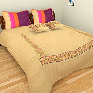 Elan By Anu 200 TC Silk Double Quilted Bed Cover with 2 Pillow Covers and 2 Cushion Covers - Golden & Purple