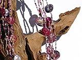 collana in perline di vetro e gemme di resina artistica, gioiello interamente artigianale. Materiali anallergici. Utilizzabile lunga o girocollo. Regalo donna. Colore magenta