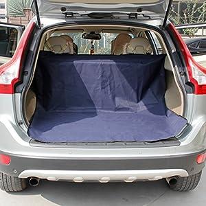 Hu Chien Chat étanche arrière de voiture d'écran avec en PVC antidérapant Motif à carreaux Bleu 147*120cm très Combinaison de protection pour voitures et 4x 4W ~ L