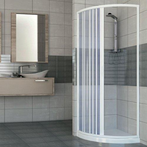 Box ducha ad una puerta apertura lateral semicircular. Producto de PVC No Tóxico autoextinguible. riducibile attraverso el corte del carril. Color Blanco.