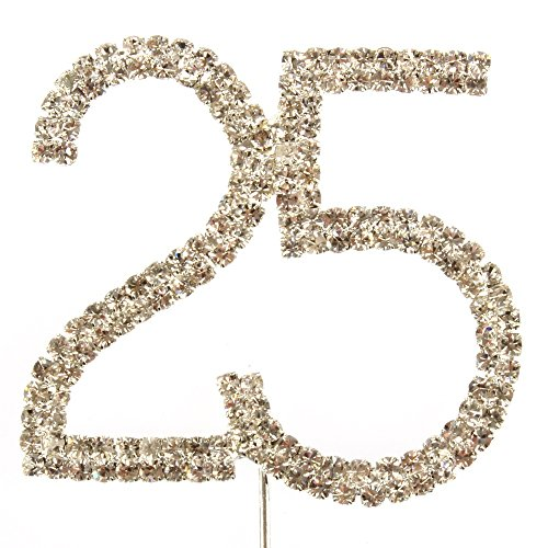 25th Birthday or Anniversary Diamante Cake Topper Decoration