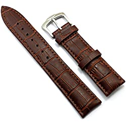 Conbays 22mm Brown Genuine Leather Stainless Steel Pin Buckle Watch Band Strap (22mm)