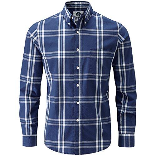 Charles Wilson Long Sleeve Classic Casual Shirt (Large, Navy & Green)