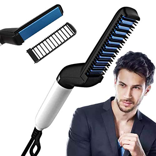 ZIZLY Multifunctional Beard Hair Straightener Comb for Men Curly Hair Straightening Quick Hair Styling Comb for Natural Side Hair Detangling with Detachable Safe Comb, Adjustable Temperature Comb