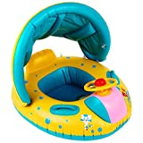 Inflatable Baby Pool Float Swimming Ring with Sun Canopy for The Age 6-36 Months Horn Baby Swimming Boat Toy for Kids