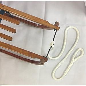 Ziehseil für Schlitten weiß geflochten mit Schlaufe