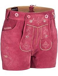 PAULGOS Damen Trachten Lederhose + Träger, Echtes Leder, Sexy Kurz, Hotpants in 5 Farben Gr. 34-44 H1
