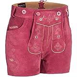 PAULGOS Damen Trachten Lederhose + Träger, Echtes Leder, Sexy Kurz, Hotpants in 5 Farben Gr. 34-50 H1, Damen Größe:42, Farbe:Pink