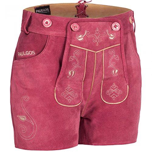 PAULGOS Damen Trachten Lederhose + Träger, Echtes Leder, Sexy Kurz, Hotpants in 5 Farben Gr. 34-50 H1 Pink