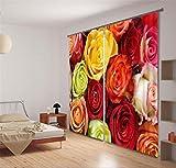 H&M Gardinen Vorhang Rose Shading warme Festliche Dekoration Schlafzimmer Leinenvorhänge fertig Fenster 3D, Wide 3.6X high 2.7