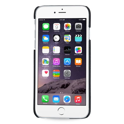 Tetded® Handcrafted Ultra Slim Case, custodia in vera pelle (vacchetta) per iPhone 6 Plus (5.5 pollice), Con Supporto, Nero