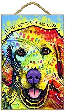 (sjt78227) Golden Retriever-All you Need Is Love and a Dog 17,8x 26,7cm Holz Plakette/Schild mit Das Artwork von Dean Russo - Russo Artwork Dean