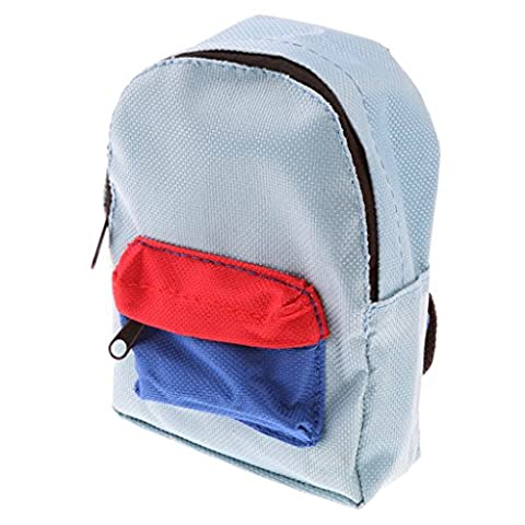Gazechimp Puppenzubehör - Miniatur Tuch Schultasche Rucksack für 18 Zoll Mädchen / Junge Puppen - 15 * 22 * 15cm - Blau