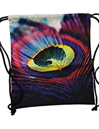 Waterproof,school,collage,beach Bag, Purse Cum Sack Peacock Feather Print