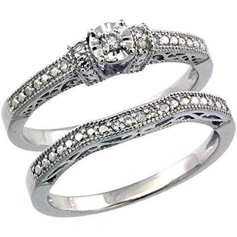 Revoni-Collana in argento Sterling stile Vintage, 2-Pc. 11-Anello di fidanzamento, pietra, Set w/0,112 kt con diamanti taglio brillante, misure disponibili da J a