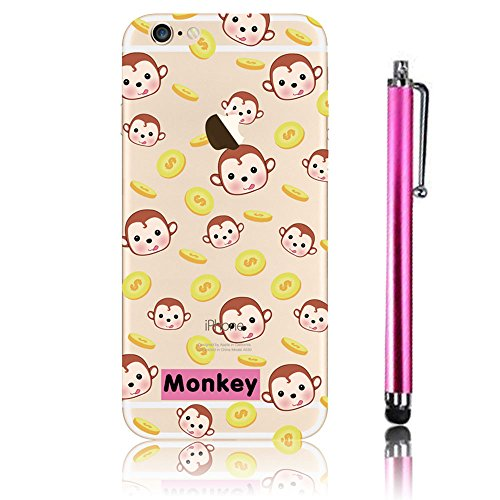 Cover iPhone 6, iPhone 6S Custodia (4.7), Bonice TPU trasparente Ultra Slim Thin 3D Case + Stilo Penna - Monkey & London model 17