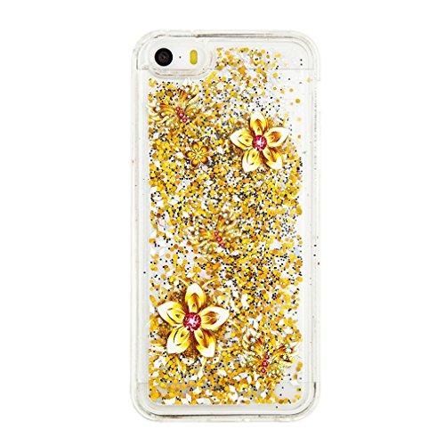 Mk Shop Limited Coque pour iPhone SE, iPhone 5 / 5S Coque,iPhone SE / 5S / 5 Gel 3D Transparent Hourglass Sables Mouvants Liquide Coque Slim Soft Etui Housse, iPhone SE / 5S / 5 Silicone Clear Case TP Multi-couleur 3