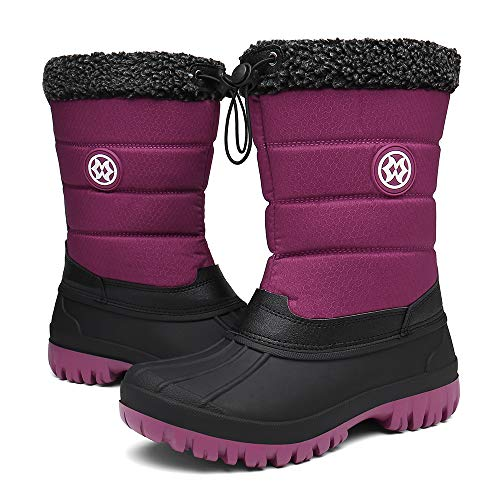 Sisttke Womens Fur Lined Snow Boots Winter Warm Waterproof Mid Calf Boots Ladies Outdoor Durable Wellington Boot