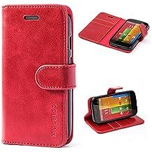 Funda Motorola Moto G (1. Generacion, 2013), MULBESS Funda Piel PU, Soporte Plegable, Ranuras para Tarjetas y Billetes, Estilo Libro, Acceso a Botones, Cierre Magnético - Vino Rojo