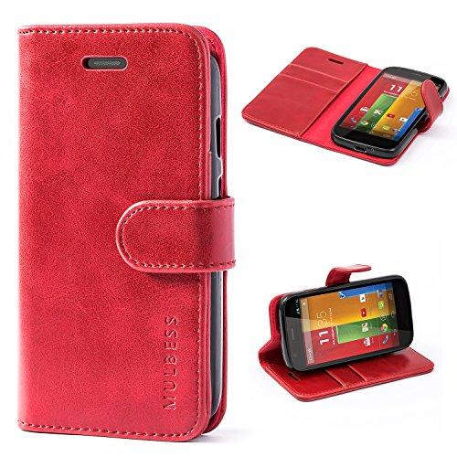 Mulbess Handyhülle Moto G Hülle Leder, [Ledertasche mit BookStyle] Flip Case Tasche Etui Schutzhülle für Motorola G Hülle Leder, Wein Rot