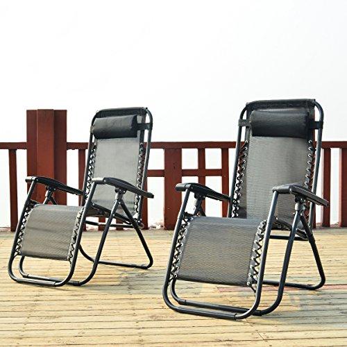 Merax Sonnenliege 2er Set klappbare und verstellbar Gartenliege Strandliege Relax-Liegestuhl mit Kopfkissen (Schwarz 2er Set)