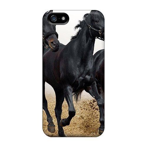 Tpu Purecase Shockproof Scratcheproof Black Horse Trio Hard Case Cover For Iphone 5/5s