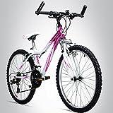 Bergsteiger Verona 24 Zoll Kinderfahrrad, geeignet für 8, 9, 10, 11 Jahre, Shimano 18 Gang-Schaltung, Mountainbike mit Gabel-Federung, Mädchen-Fahrrad
