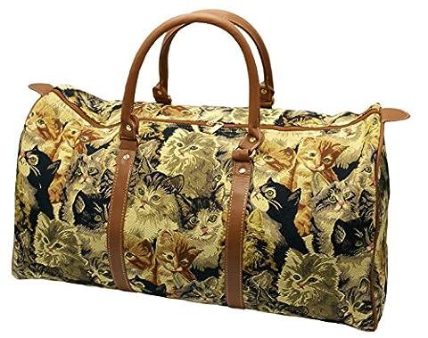 Damen Reisetasche Motiv Katze, XXL Handtasche Gobelin 54cm