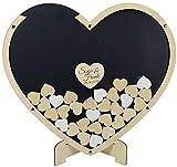 Manschin Laserdesign Gästebuch aus Holz und Acrylglas zur Hochzeit, personalisiert, Wunschgravur, Wunschfarbe inkl. Herzen (Hintergrund Herz Anthrazit)