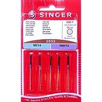 5 Original Singer Nähmaschinen Nadeln 2032 Stärke 90/14 und 100/16 für Leder 130/705 H-LR