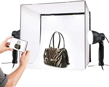 FXQIN Photo Studio Box Foldable Photography Light Box Shooting Tent with 2 Colours Backdrops White Black Table Top Photography Lighting Kit
