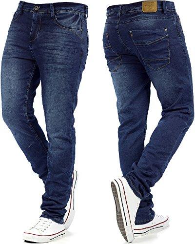 Urban Surface Herren Jogging Jeans Jogg Sporthose Sweatpants Sweathose Freizeit Blau