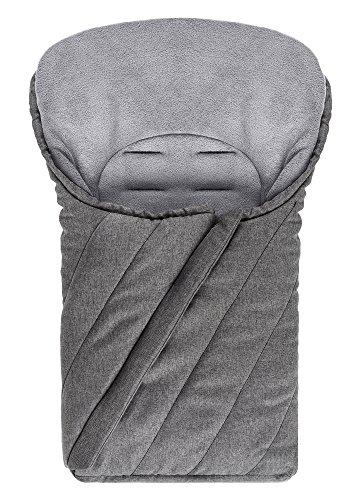 Preisvergleich Produktbild Universal Fußsack für Babyschale / Maxi-Cosi - Winterfußsack mit weichem Deluxe Thermo Fleece, warme Mumien Kapuze | Melange Grau