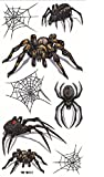 Grashine neue Design Tattoo-Aufkleber Terrible verschiedenen Spinnen mit Spinnennetz für Halloween-Party wasserfest und ungiftig gefälschte temporäre Tätowierung-Aufkleber