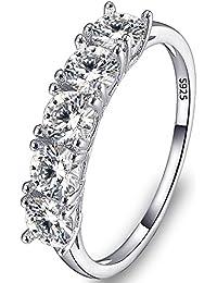 Flyonce Anillos Plata de ley 925 Mujer Arcollas de matrimonio 5 Zirconias Elegante para Regalo Novia