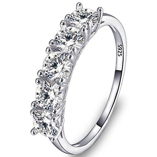 TENYE - 925 Sterling-Silber Sterling-Silber 925 Rundschliff Farblos Oxyde de Zirconium