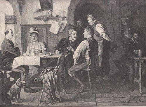 Wirtshaus-tisch (Künstlergraphik - Kinzel, J., Der unerwartete Rivale. Asnicht in einem ländlichen Wirtshaus. Junge Städterin sitzt mit einem faden Verehrer beim Kaffee, mit am Tisch sitzt ein kerniger Bauernbursche der sie bewundert. [Grafik])