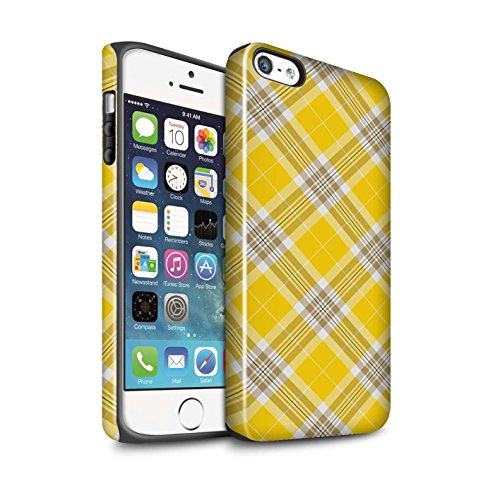 STUFF4 Glanz Harten Stoßfest Hülle / Case für Apple iPhone 5/5S / Dunkelrot Muster / Tartan Picknick Muster Kollektion Gelb