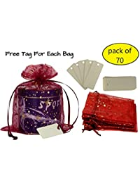 Lifekrafts Elegant Drawstring Organza Bags Gift Bags, It Is Great For Diwali, Christmas, Wedding And Party Favor...