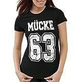 CottonCloud Mücke 63 Damen T-Shirt bulldozer film star movie, Farbe:Schwarz;Größe:M