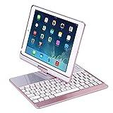 WWSZ Bluetooth Tastatur Schutzhülle für 24,6 cm iPad Smart Ultra Slim 360 Grad drehbar Schutzhülle Hülle,ipad tastatu mit Broadcom Chip kompatibel der iPad 5/6/pro9.7/New iPad