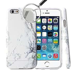 Coque iPhone 6, GMYLE Hybrid Case Slide pour iPhone 6 (4.7 Display) - Marbre blanc Pattern Hybrid TPU protection rigide Shell Retour Étui