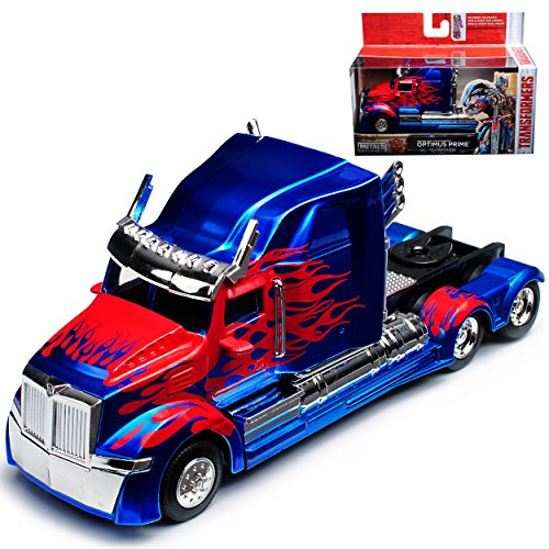 Western Star 5700 XE Phantom Optimus Prime Blau Transformers 5 The Last Knight 1/32 Jada Modell Auto (Optimus Prime Spielzeug Metall)