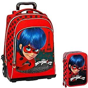 Miraculous Lady Bug Schoolpack Mochila Trolley + Estuche 3 Cremalleras Completo de papelería – Escuela 2019-20