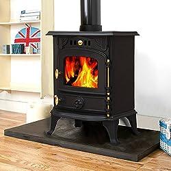 Lincsfire Harmston JA013S 5.5KW Multifuel Stove Clean Burn Wood Burner Log Burning Fire Woodburning Fireplace Cast Iron Woodburner
