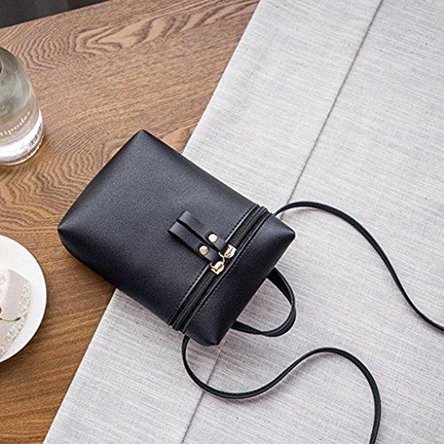 Longra Portafoglio del telefono mobile della borsa del messaggero della borsa a tracolla della borsa della chiusura lampo del doppio di colore solido delle donne del cuoio solido Nero