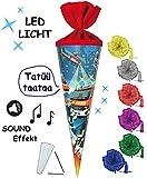 Unbekannt Sound Modul & LED Licht Effekt ! - Schultüte -  Feuerwehr  - 70 cm - rund - incl. Schleife - Filzabschluß - Zuckertüte - mit / ohne Kunststoff Spitze - für ..