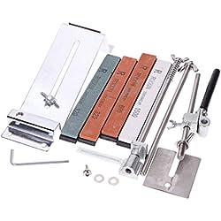 KKmoon De ángulo fijo mejorada Afilador de cuchillos Kit Full Metal Acero inoxidable profesionales Stones 4 Afilado